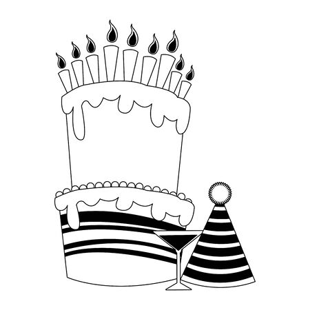 Big birthday cake with cocktail and party hat over white background, flat design, vector illustration