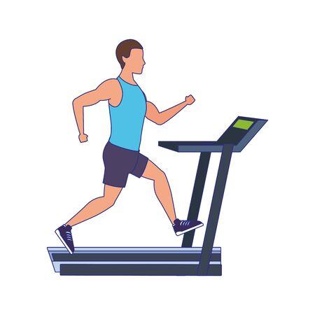 avatar man running on treadmill icon over white background, vector illustration