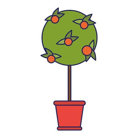Orange tree in bucket cartoon isolated
