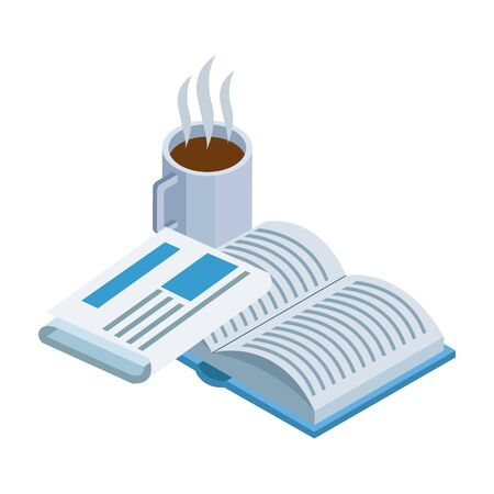 coffee mug, book and newspaper over white background, vector illustration Illusztráció