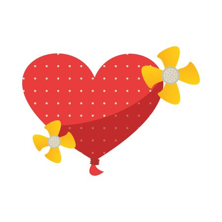 happy valentines day heart balloon helium with flowers vector illustration Ilustracja