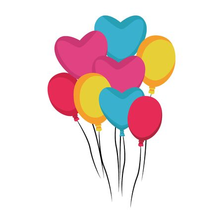 hearts balloons and colorful balloons over white background, vector illustration