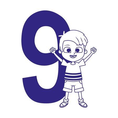 number nine with happy boy icon over white background, vector illustration Ilustracja