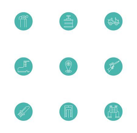 bundle of military line block style icons vector illustration design Illustration