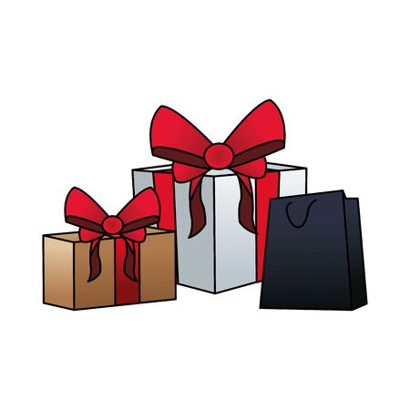gift boxes and shopping bag over white background, colorful design, vector illustration Ilustrace