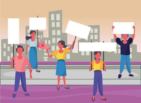 activists people with protest banners and megaphone vector illustration design Ilustração