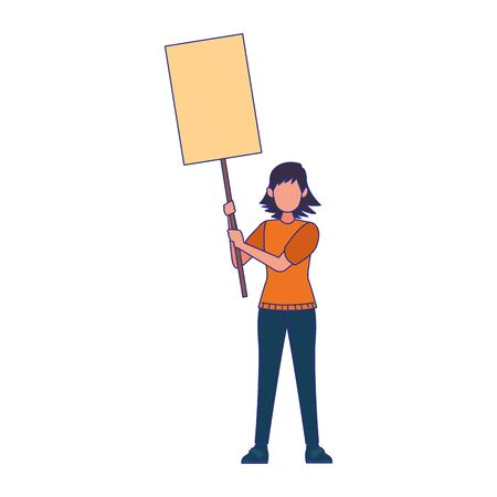 cartoon woman standing holding a blank banner over white background, vector illustration