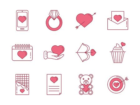 bundle of happy valentines day set icons vector illustration design