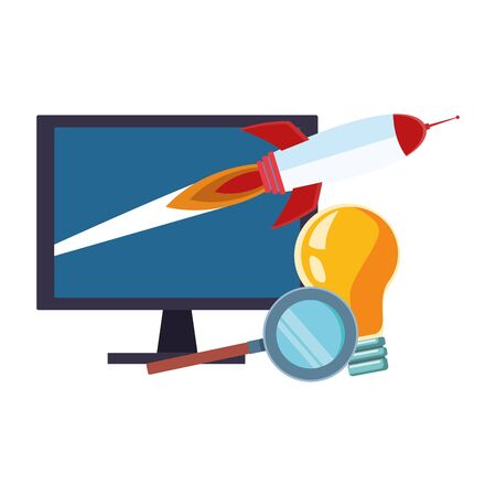 computer with rocket space and light bulb and magnifying glass over white background, vector illustration Ilustrace