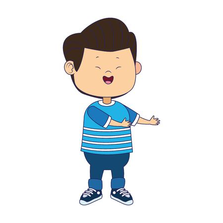 cartoon happy boy with casual clothes over white background, vector illustration Ilustracja