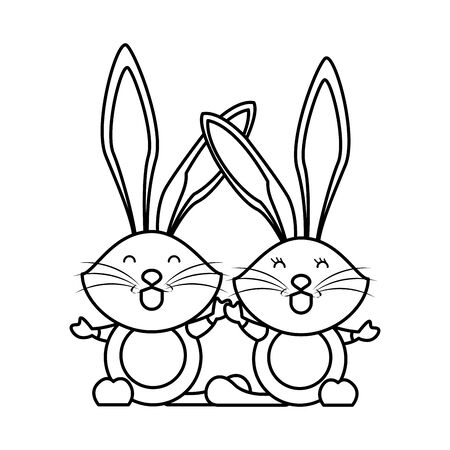 cute rabbits couple easter animals characters vector illustration design