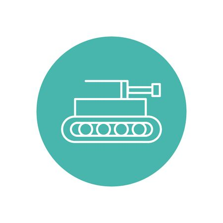 tank military force line block style vector illustration design