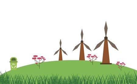 wind power turbine alternative energy vector illustration design