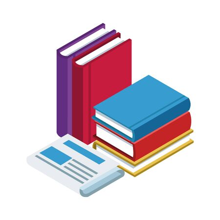 newspaper and academic books over white background, vector illustration
