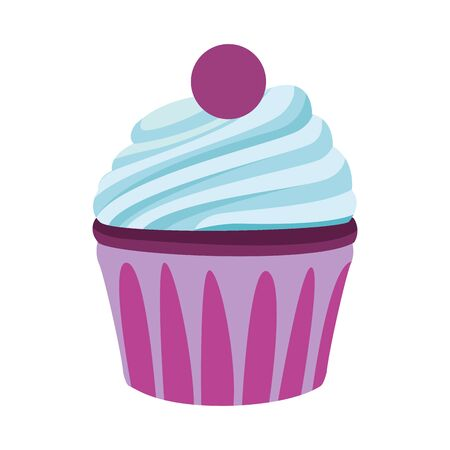 sweet cupcake icon over white background, vector illustration