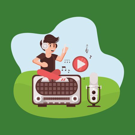 announcer with radio microphone and earphones vector illustration design Ilustração