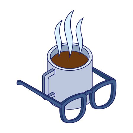 hot coffee mug and glasses over white background, vector illustration