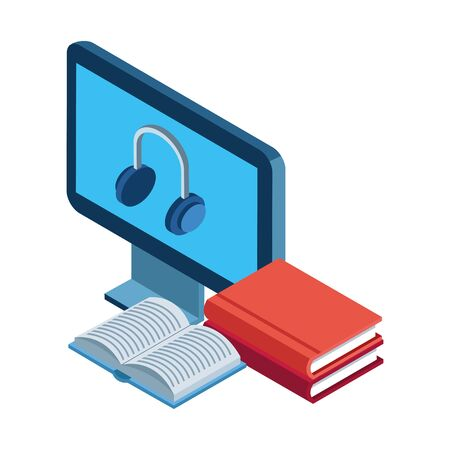 books and computer with headphones on screen over white background, vector illustration