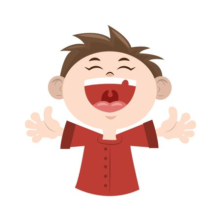 Cartoon happy boy laughing icon over white background, vector illustration
