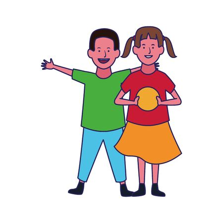 happy girl and boy icon over white background, vector illustration Stock Illustratie