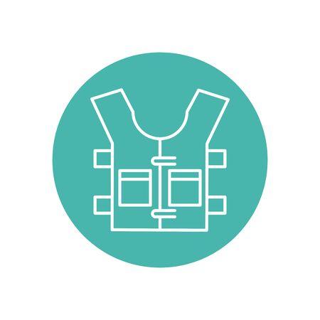 bulletproof vest accessory line block style vector illustration design