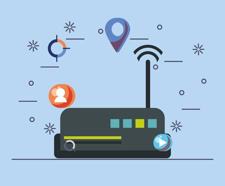 route with wifi connection signal vector illustration design