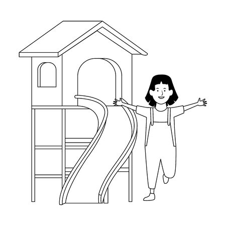 happy girl and outdoor playground over white background, vector illustration Stock Illustratie