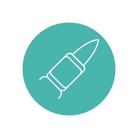 rocket military force line block style vector illustration design Çizim