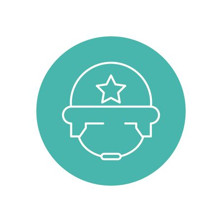 military force helmet line block style vector illustration