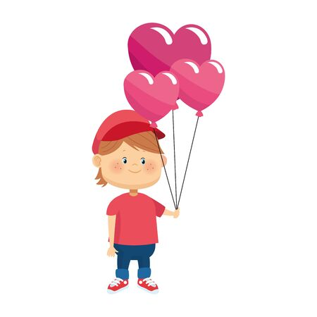 cartoon boy with hearts balloons over white background, colorful design, vector illustration