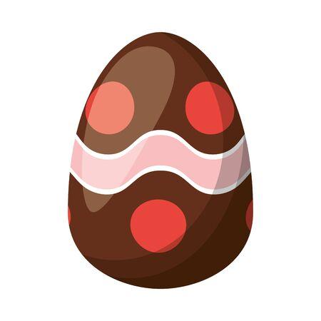 easter egg painted with waves stripes flat style vector illustration design Ilustração