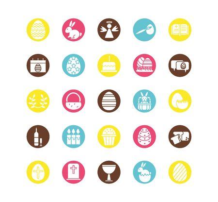 bundle of easter set block icons vector illustration design Vecteurs