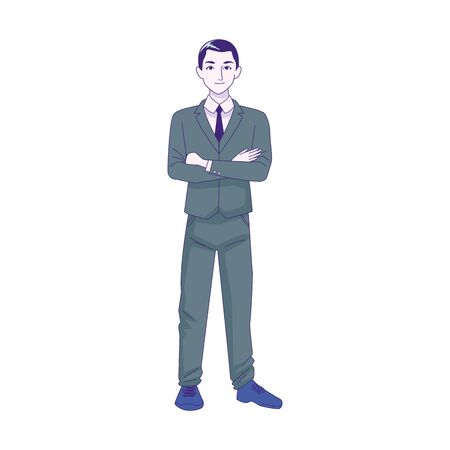 cartoon businessman standing icon over white background, colorful design, vector illustration