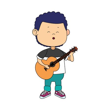 cartoon boy playing a guitar over white background, vector illustration