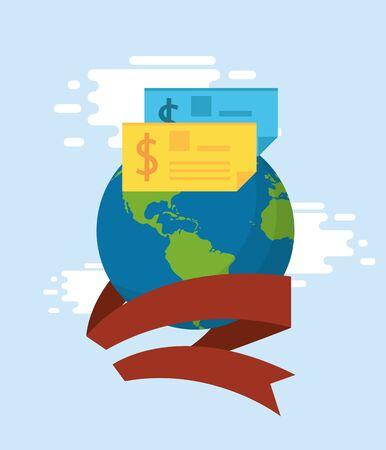 world planet with checks banknote vector illustration design Ilustrace