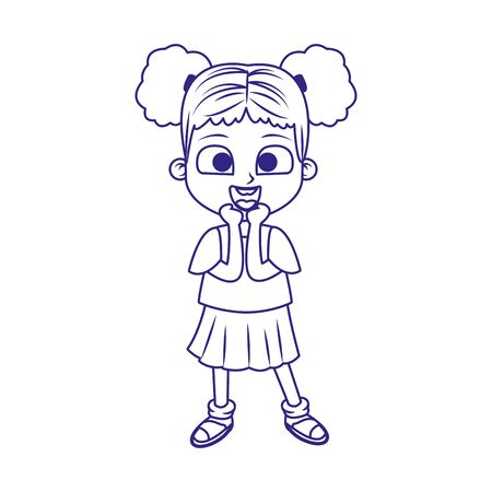 cartoon girl surprised icon over white background, flat deisgn, vector illustration