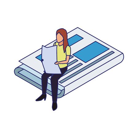 woman reading a newspaper sitting on a big newspaper over white background, vector illustration