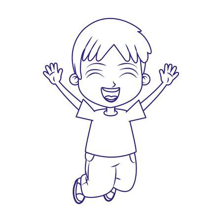 cartoon excited boy jumping over white background, flat design, vector illustration