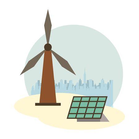 panel solar and windmill alternative energy vector illustration design