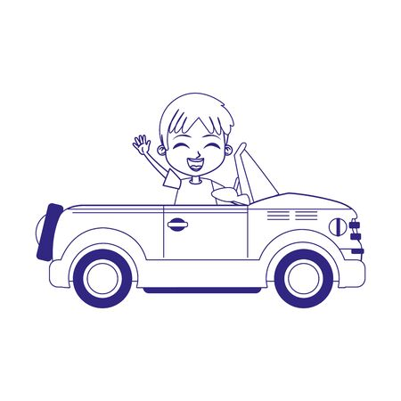 sport car with cute boy waving over white background, flat design, vector illustration