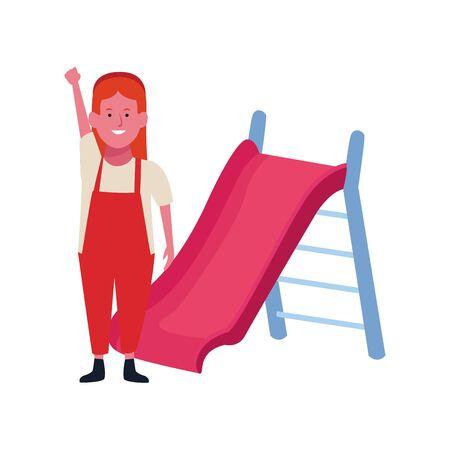 happy girl and slide playground over white background, vector illustration