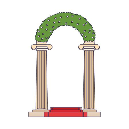 wedding flowers arch icon over white background, vector illustration Banque d'images - 140634855