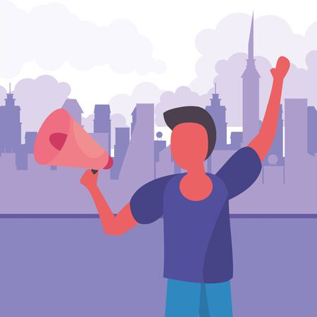 activist man with protest megaphone vector illustration design