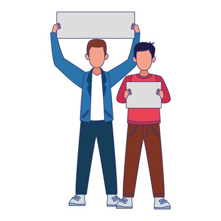 young boys holding blank signs over white background, colorful design, vector illustration Banque d'images - 140538409