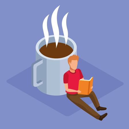 coffee mug and man reading a book over purple background, colorful isometric design, vector illustration