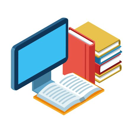 academic books and computer screen over white background, vector illustration