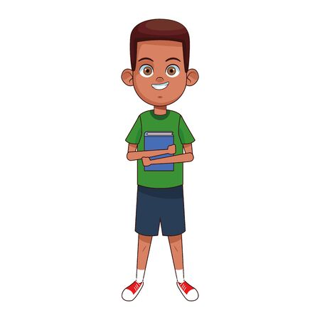 cartoon boy wearing casual clothes over white background, vector illustration