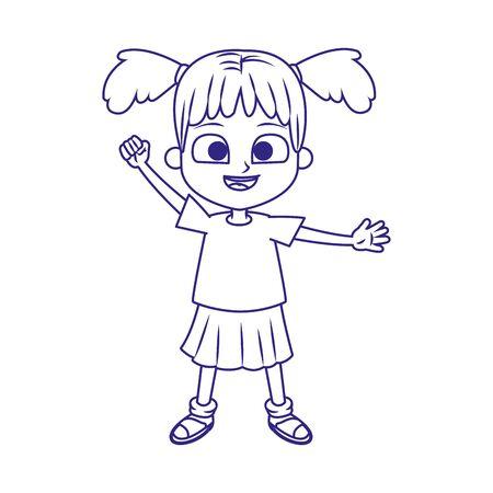 cartoon girl smiling icon over white background, flat design, vector illustration Stock Illustratie