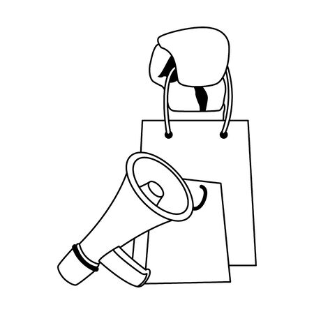 shopping bag and megaphone over white background, flat design, vector illustration