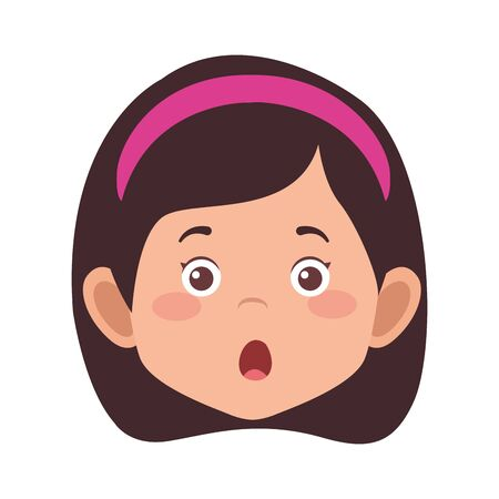 cartoon surprised girl icon over white background, vector illustration